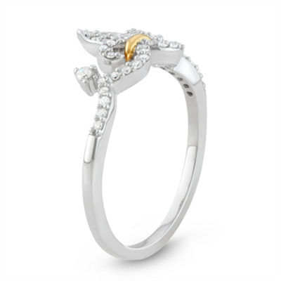 Womens 1/5 CT. T.W. White Diamond 14K Gold Over Silver Sterling Silver Promise Ring