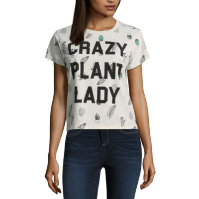 """Crazy Plant Lady"" Cropped Tee - Juniors"