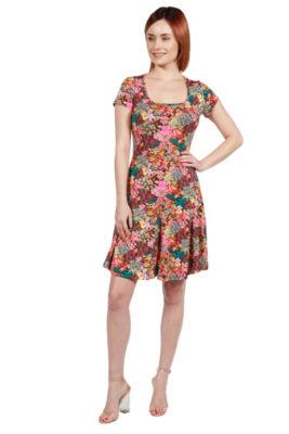 24Seven Comfort Apparel Margaret Pink Floral Fit and Flare Mini Dress