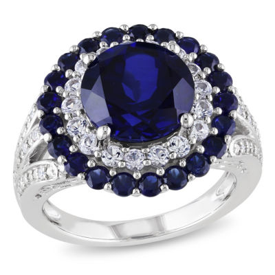 Womens Diamond Accent Lab Created Blue Sapphire Sterling Silver Cocktail Ring