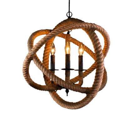 Warehouse of Tiffany Natalia 3-light Rope Enclosed Chandelier with Bulbs