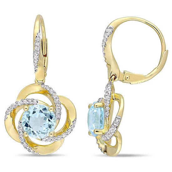 Genuine Blue Topaz 18K Gold Over Silver Drop Earrings