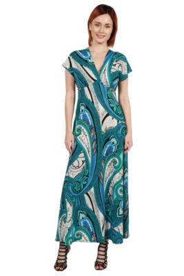 24Seven Comfort Apparel Dress Gisele Green and Blue Empire Waist Maxi Dress