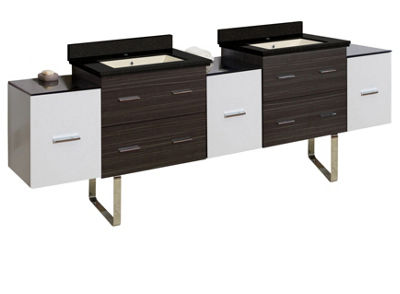 90-in. W Floor Mount White-Dawn Grey Vanity Set For 1 Hole Drilling Black Galaxy Top Biscuit UM Sink