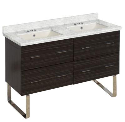 47.5-in. W Floor Mount Dawn Grey Vanity Set For 3H4-in. Drilling Bianca Carara Top Biscuit UM Sink