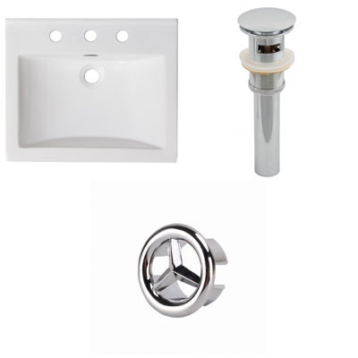 21-in. W 3H8-in. Ceramic Top Set In White Color -Overflow Drain Incl.