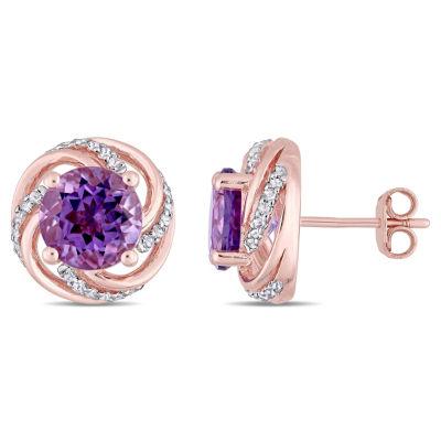 Genuine Purple Amethyst 18K Rose Gold Over Silver 13mm Stud Earrings