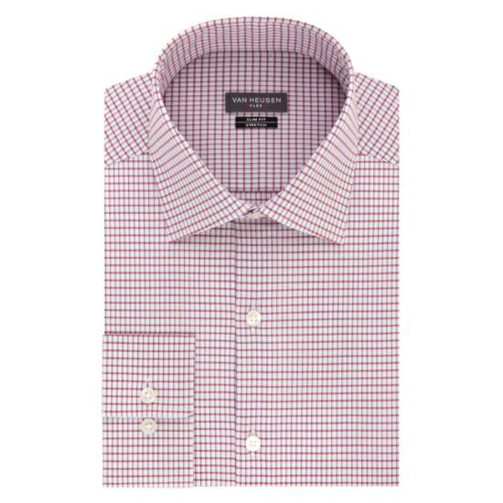 Van Heusen Made To Match Long Sleeve Twill Checked Dress Shirt - Slim