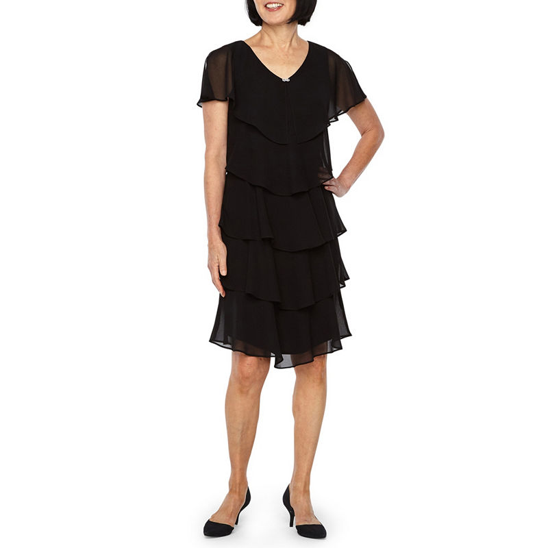 Flapper Dresses & Quality Flapper Costumes S. L. Fashions Short Sleeve Tiered Party Dress Womens Size 14 Petite Black $44.99 AT vintagedancer.com