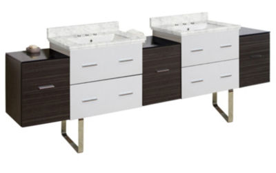 88.5-in. W Floor Mount White-Dawn Grey Vanity SetFor 3H8-in. Drilling Bianca Carara Top White UM Sink