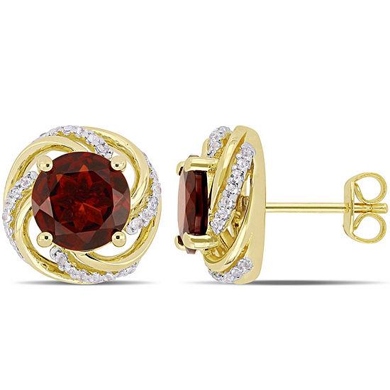 Genuine Red Garnet 18K Gold Over Silver 12.8mm Stud Earrings