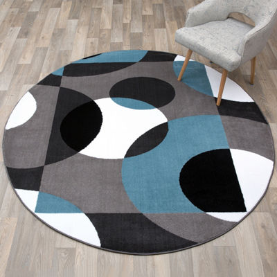 World Rug Gallery Modern Circles Round Area Rug