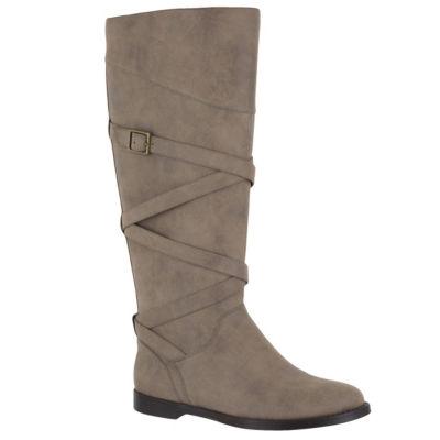 Easy Street Womens Memphis Plus Riding Boots Flat Heel Zip
