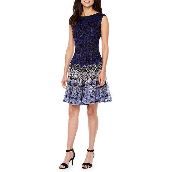 Danny Nicole Sleeveless Lace Circles Fit Flare Dress