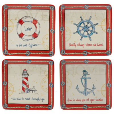 Certified International Coastal Life 4-pc. Dessert Plate
