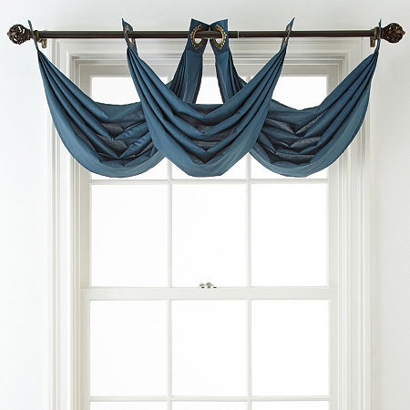 JCPenney Home Plaza Grommet-Top Waterfall Valance, One Size , Blue