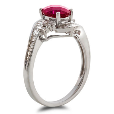 Womens Lab Created Red Ruby Cocktail Ring