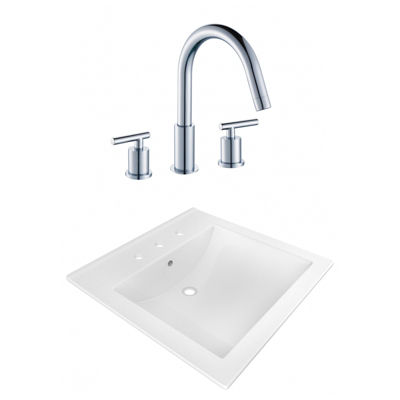 21.5-in. W 3H8-in. Ceramic Top Set In White Color- CUPC Faucet Incl.
