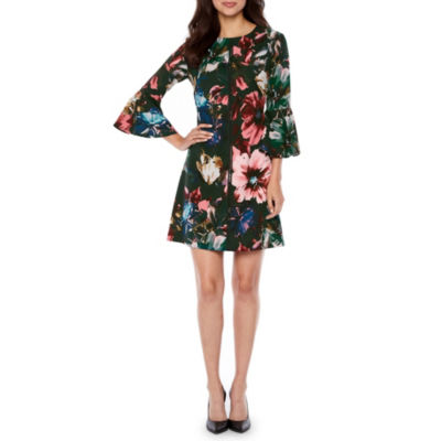 Danny & Nicole 3/4 Bell Sleeve Floral Shift Dress