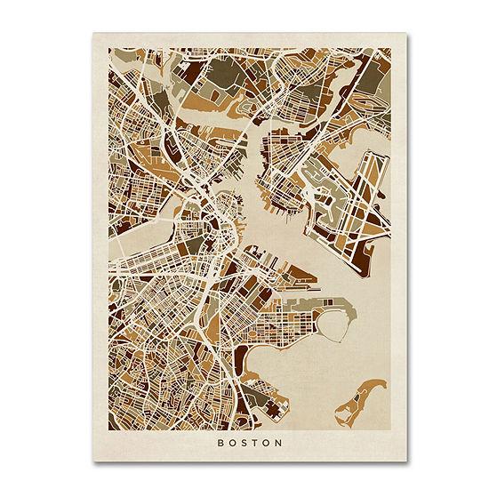 Trademark Fine Art Michael Tompsett Boston MA Street Map Brown Giclee Canvas Art