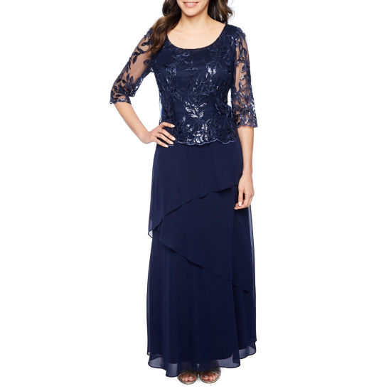 Maya Brooke 3/4 Sleeve Evening Gown