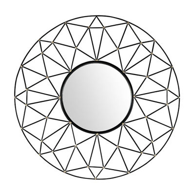 Round Geometric Frame Mirror