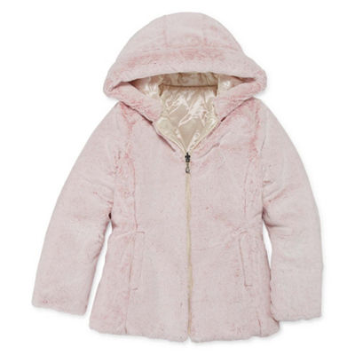 Gallery Girls Faux Fur Trim Hooded Reversible Midweight Quilted Jacket-Big Kid
