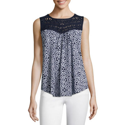 John Paul Richard Sleeveless Round Neck Jersey Blouse