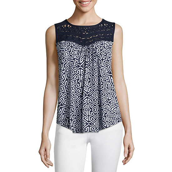 John Paul Richard Womens Round Neck Sleeveless Blouse