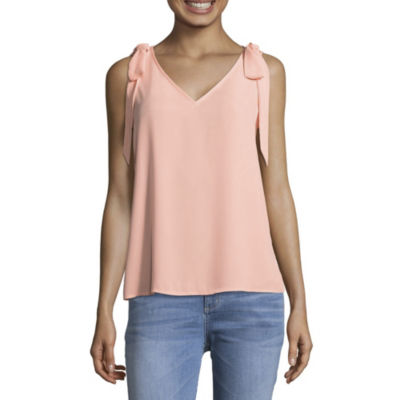 Belle + Sky Sleeveless Crew Neck Woven Blouse