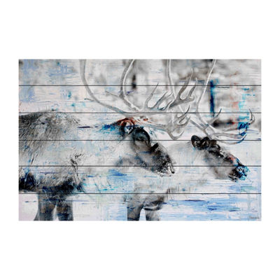Reindeer Pair Painting Print on White Wood