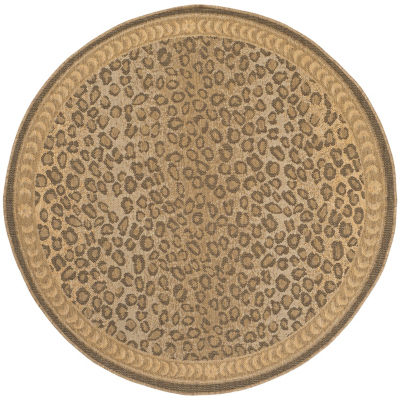 Safavieh Courtyard Collection Daithi Animal Indoor/Outdoor Round Area Rug