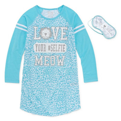 Cloud Nine Long Sleeve Nightshirt with Sleep Mask - Girls 7-16