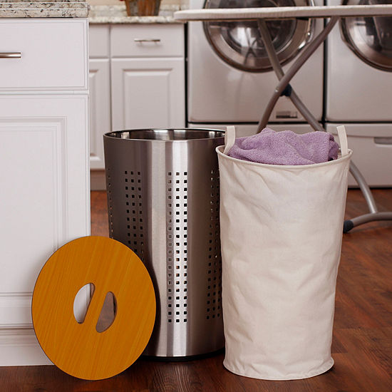 Household Essentials Round Metal Laundry Hamper With Wood Lid