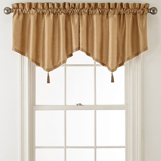 JCPenney Home Plaza Thermal Interlined Rod-Pocket Ascot Valance