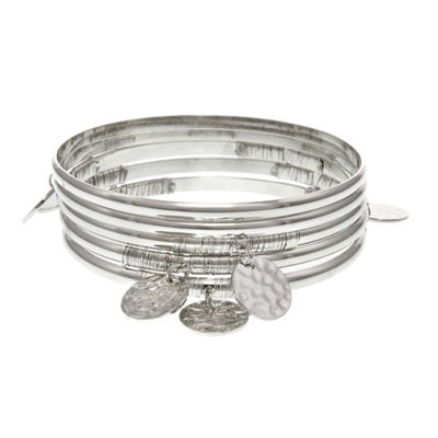 Bold Elements Silver Tone Bangle Bracelet