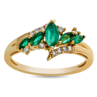 Womens Genuine Green Emerald 10K Gold Cocktail Ring