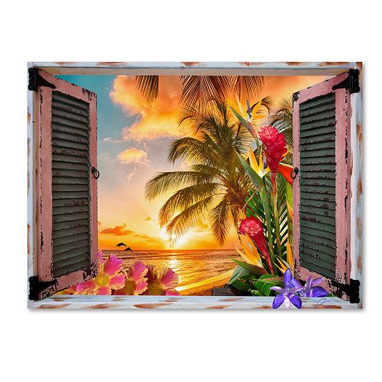 Trademark Fine Art Leo Kelly Tropical Window to Paradise II Giclee Canvas Art