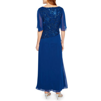 Maya Brooke Short Sleeve Embroidered Evening Gown