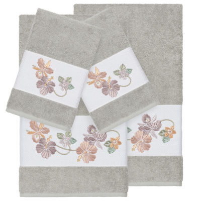 Linum Home Textiles 100% Turkish Cotton Caroline 4PC Embellished Towel Set