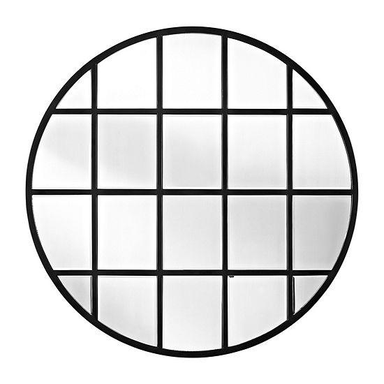 Round Beveled Window Mirror