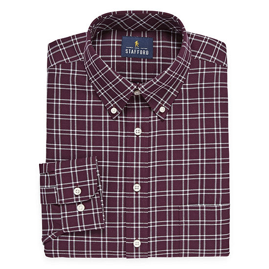 Stafford Travel Stretch Oxford Mens Button Down Collar Long Sleeve Wrinkle Free Stretch Dress Shirt