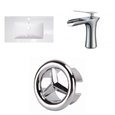 36.75-in. W 1 Hole Ceramic Top Set In White Color- CUPC Faucet Incl.