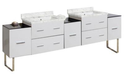 88-in. W 17-in. D Modern Plywood-Melamine Vanity Base Set Only In White
