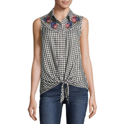 Como Blu Womens Y Neck Sleeveless Embroidered Blouse
