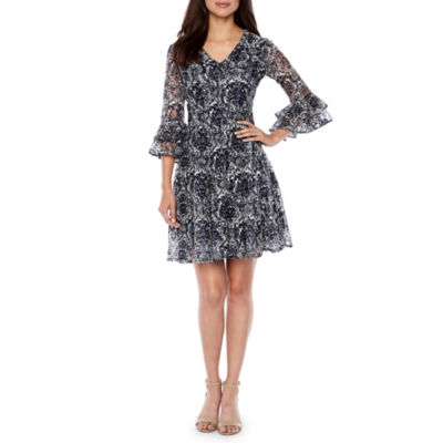 Danny & Nicole 3/4 Sleeve Lace Floral Fit & Flare Dress
