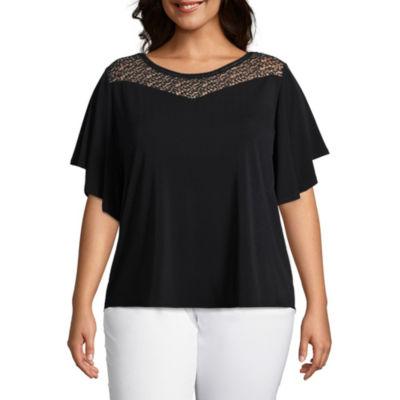 Worthington Lace Yoke T-Shirt - Plus