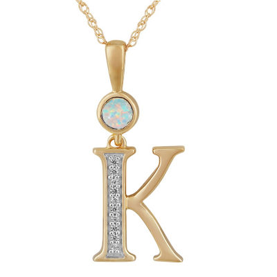 K Womens Lab Created White Opal 14K Gold Over Silver Pendant Necklace