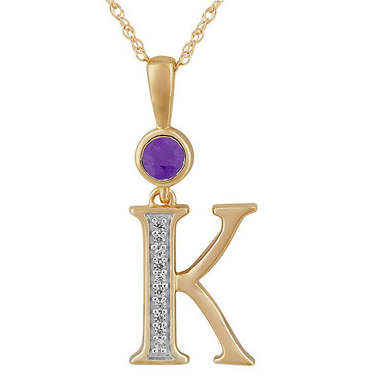 K Womens Genuine Purple Amethyst 14K Gold Over Silver Pendant Necklace