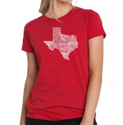 Los Angeles Pop Art Women's Premium Blend Word ArtT-shirt - The Great State of Texas